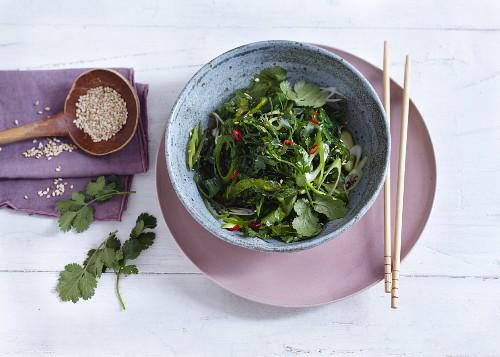 Japanese seaweed salad with sesame seeds and coriander