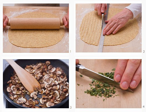 Unripe spelt grain tagliatelle with mushroom sauce