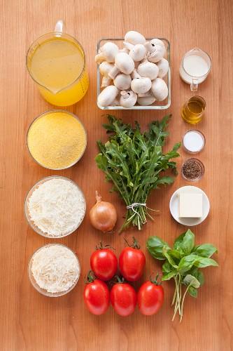 Ingredients for polenta gratin with mushrooms and rocket