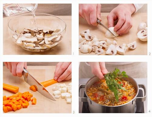 Vegan mushroom consommé being made