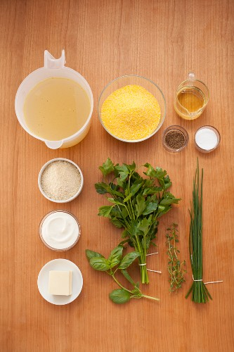 Ingredients for grilled polenta medallions