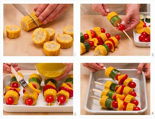 Vegan vegetable skewers being prepared for the BBQ
