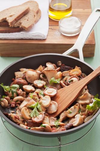 Pan-fried mushrooms