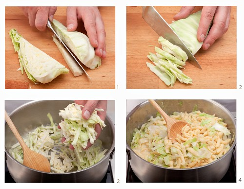 Preparing a cabbage and spaetzle dish