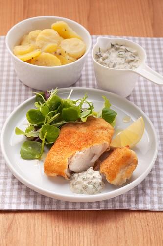 Fried fillet of pollack with tartar sauce and potato salad