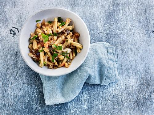 A Mediterranean vegetable pasta dish with buffalo mozzarella