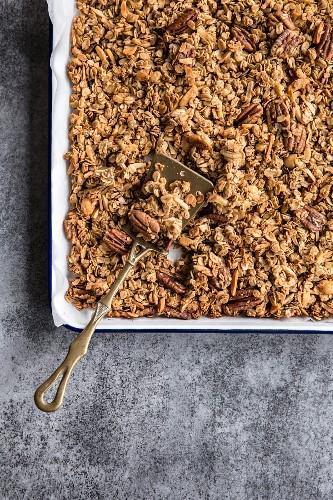 Homemade muesli on a baking sheet