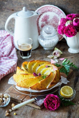 Lemon cake with rose water and pistachios