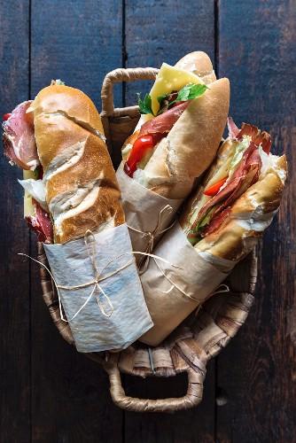 Submarine sandwiches served in the basket