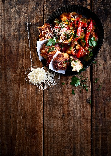 Chicken and ricotta fritters with parmesan and ratatouille