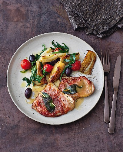 Saltimbocca with braised fennel