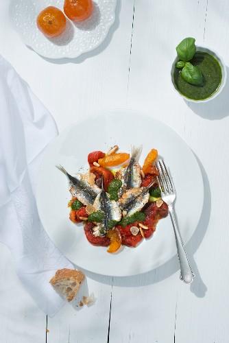 Sardines tiedes au pistou (warm sardine fillets with basil cream, Southern France)