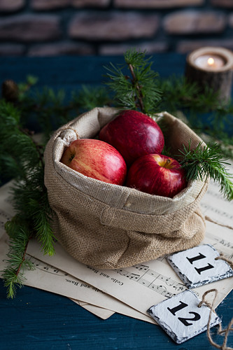 Red apples in a sack