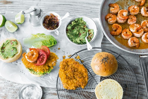Ingredients for making burgers with poultry, fish, and seafood