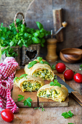 Green herbs and cottage cheese strudel