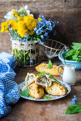 Sorrel and feta hand pies