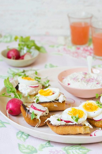 Open sandwiches with radish cream and hard boiled eggs