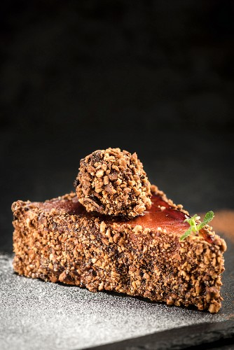 Homemade chocolate and nut cake