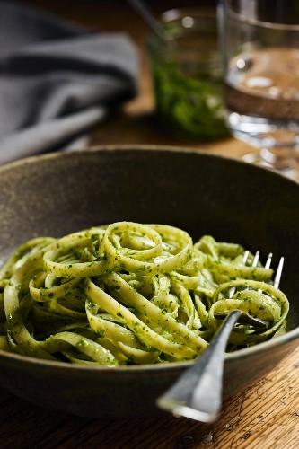 Tagliatelle with wild garlic pesto