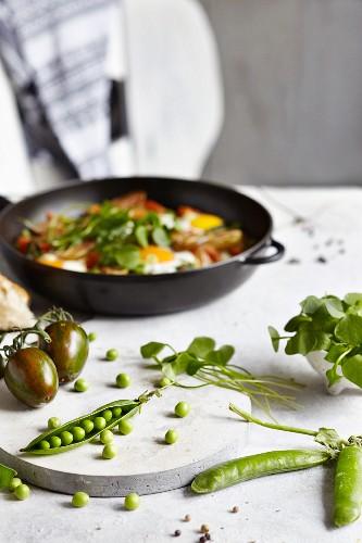 Shakshuka with tomatoes and portulak