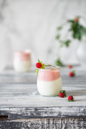 Two-coloured yoghurt mousse with wild strawberries