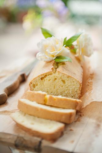 Madeira cake, partly sliced