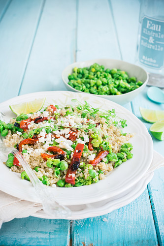 Quinoa with fava bean and pea pesto, grilled peppers and feta cheese