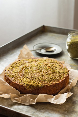 Pistachio cake on baking paper