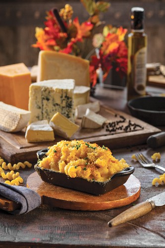 Triple Cream Mac and Cheese baked in individual serving size cast iron dish