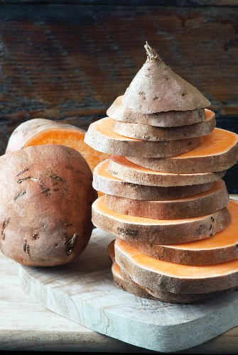 Sliced raw Sweet potatoes