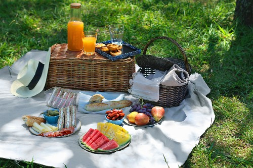 A summer picnic in the park with juice, fresh fruit and sandwiches