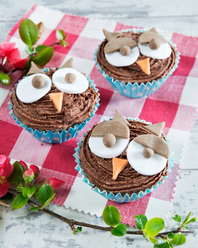 Cupcakes with chocolate cream and owl faces