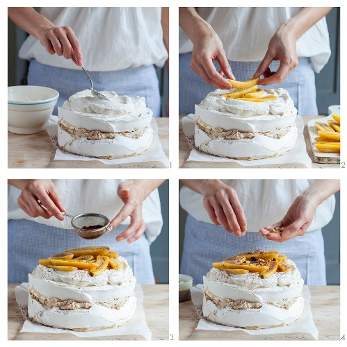 How to make tiramisu pavlova with bananas