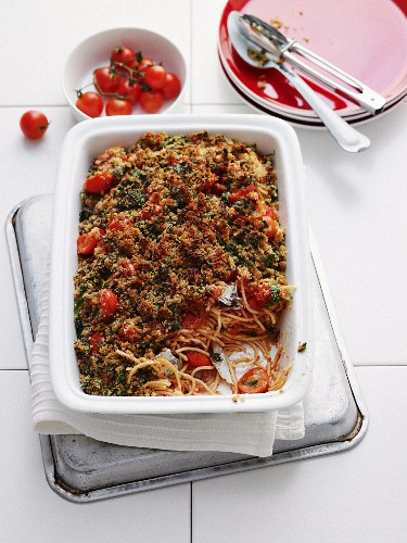 Spicy Sardine and Spaghetti Bake