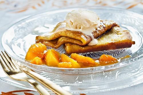 Crêpe Suzette with orange and vanilla ice cream