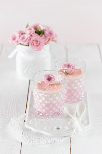 Panna cotta topped with a rose
