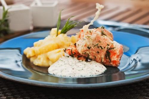 Salmon tempura with herb sauce