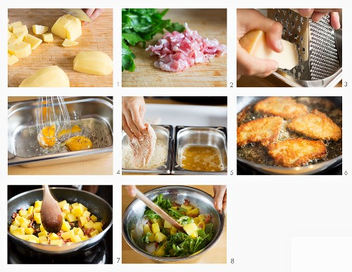 How to make parmesan schnitzel with fried potatoes