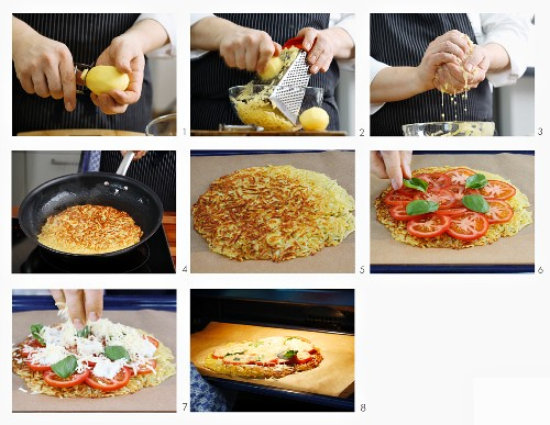 How to make a pizza rosti with tomatoes, mozzarella and basil
