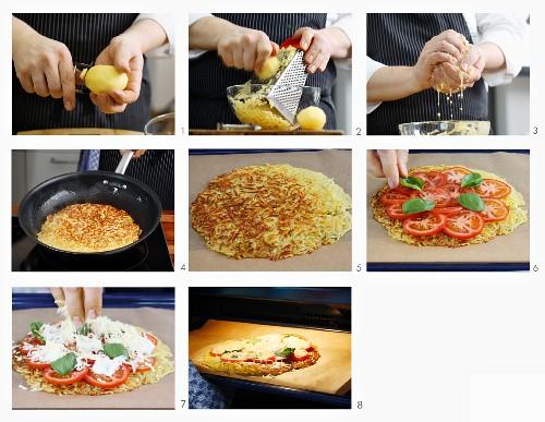 Pizza-Rösti mit Tomaten, Mozzarella und Basilikum zubereiten