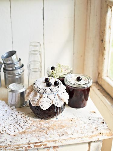 Jars of cherry chutney