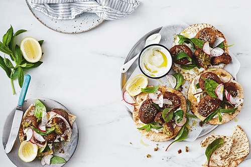 Pea and chickpea falafel with whipped garlic fetta