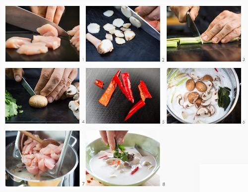 How to make tom kha gai (coconut milk soup, Thailand)