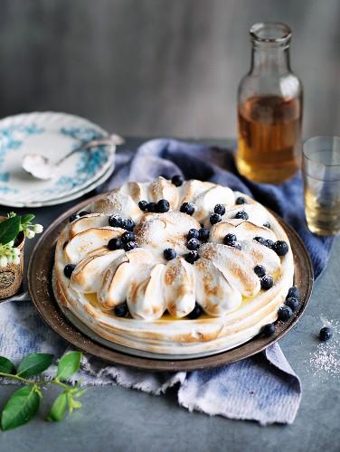 Blueberry Lemon Meringue Cheesecake