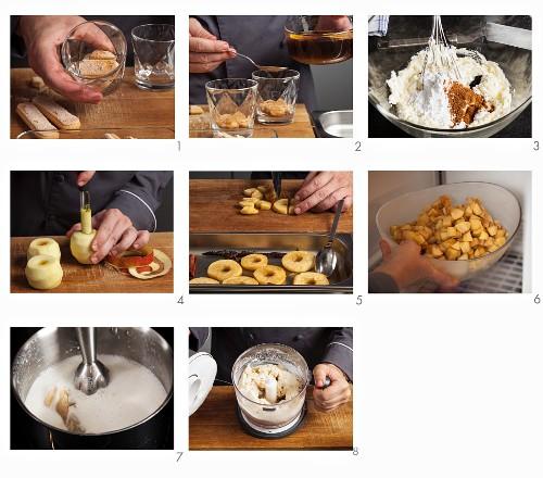 Gingerbread and apple tiramisu being made