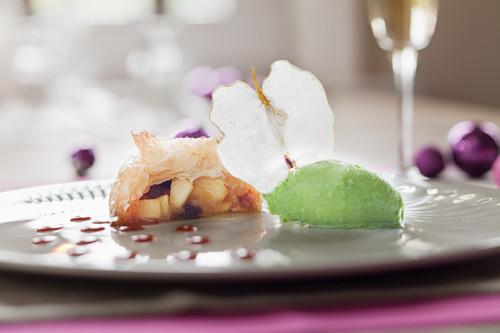 Apple tart with green apple sorbet for Christmas