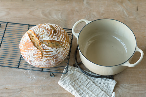 A round loaf of white wheat bread
