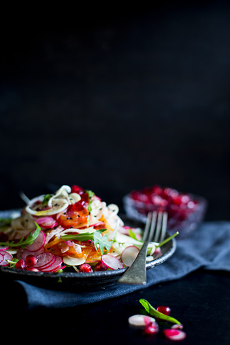 Detox fennel salad with pomegranate seeds