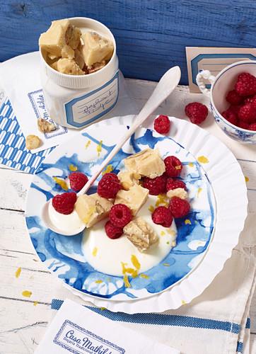 Yogurt and nut fudge with raspberries