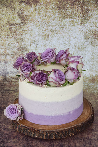 Ombre cake with vanilla, decorated with purple roses